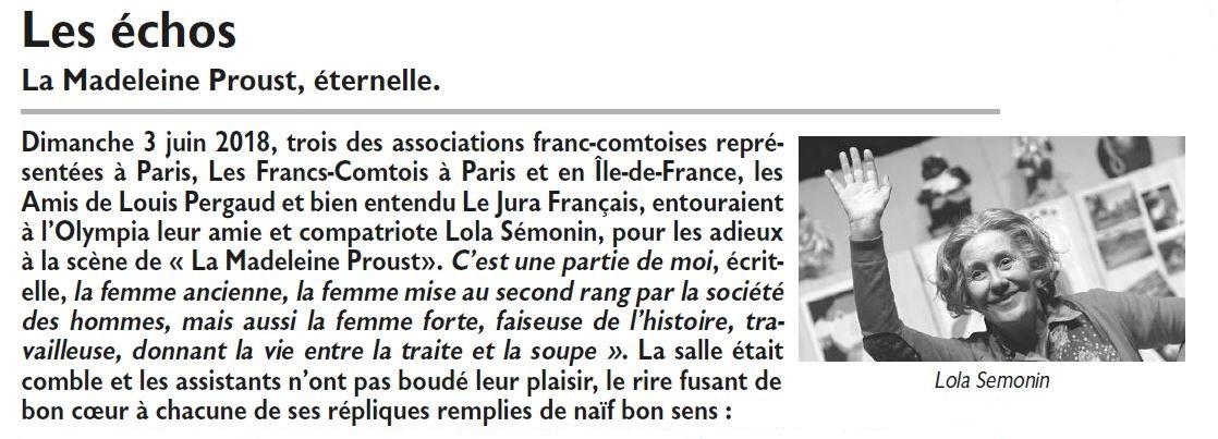 Le Jura Français N 318 Echos page 29 Lola Semonin