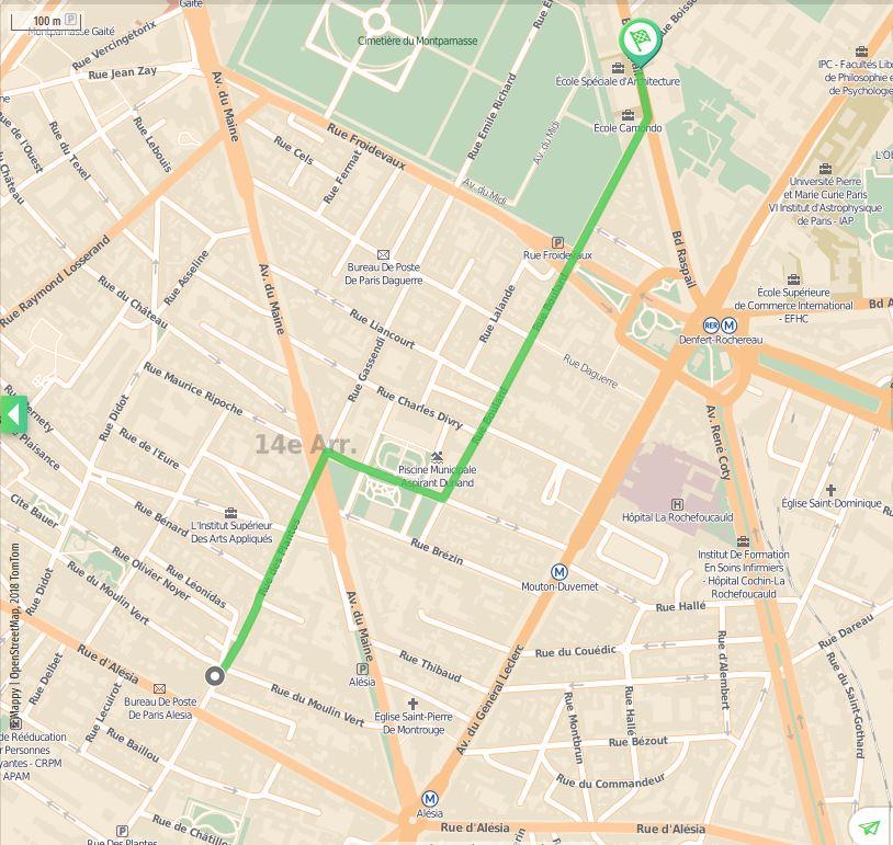 Mappy - Parcours a pied - Moulin Vert - Fondation Cartier