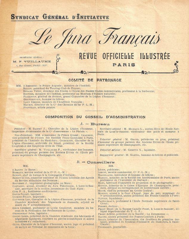 Jura Francais N 1 Juin 1912 page 2 - Comite de Patronage