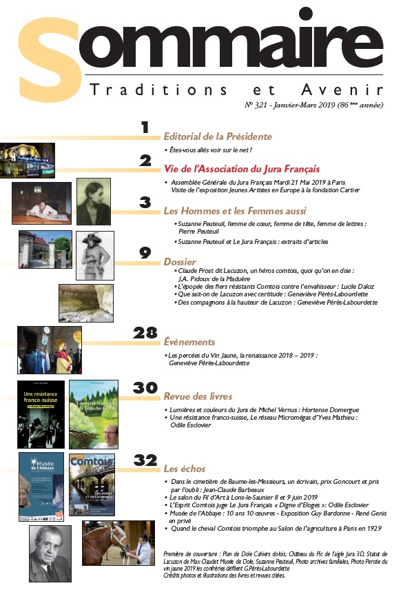 Sommaire du Jura Français N 321 Janvier - Mars 2019