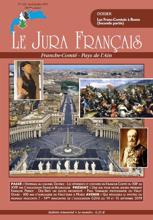 Page de couverture du Jura Francais N 322 Avril - Juillet 2019