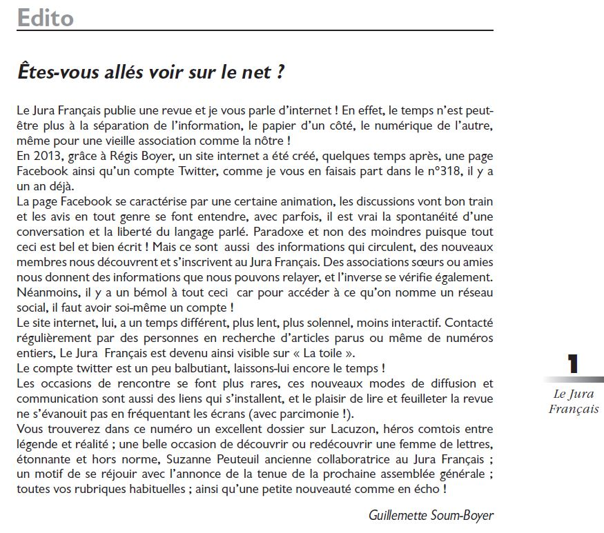 Le Jura Francais Editorial N 321 page 1
