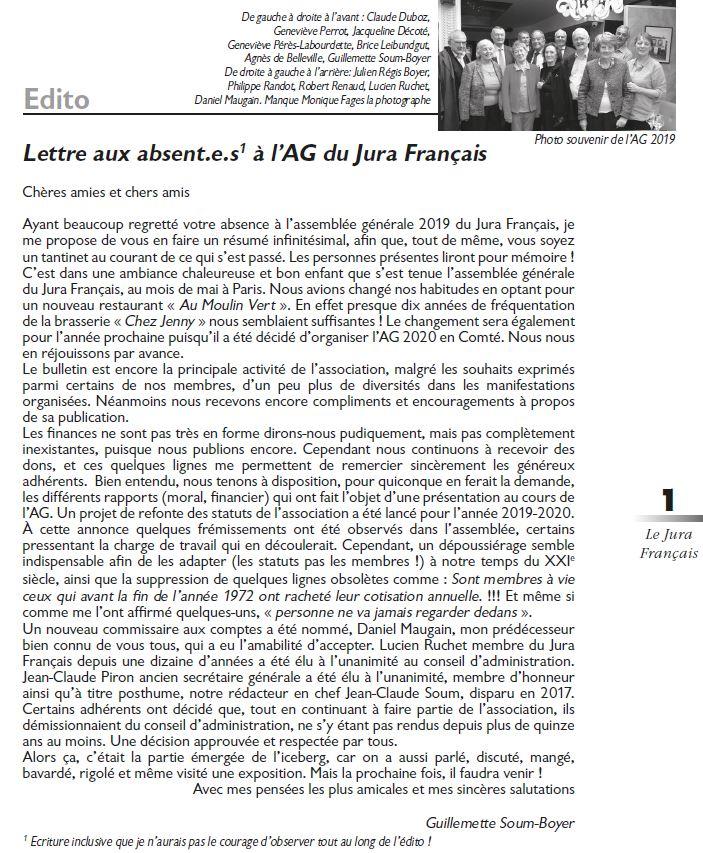 Le Jura Francais Editorial N 322 page 1