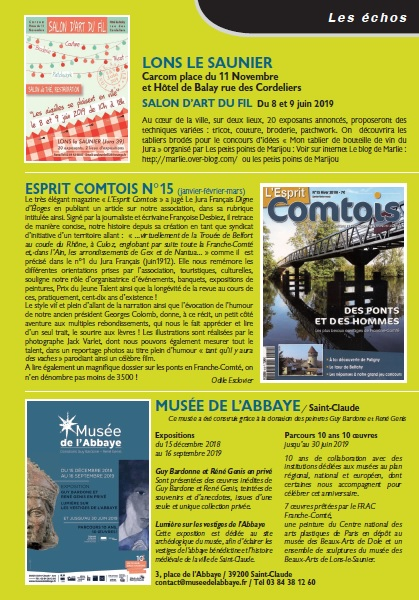 Le Jura Francais N 321 Echos 3ieme de couverture