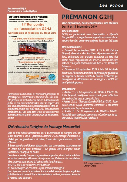 Le Jura Francais N 322 Echos 3ieme de couverture