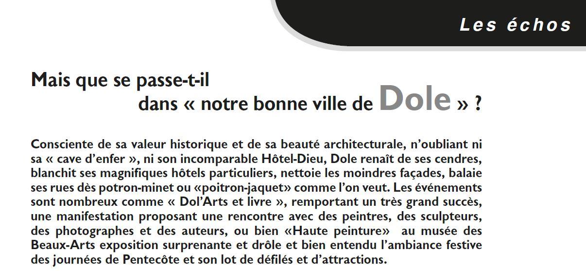 Le Jura Francais N 322 Echos page 31-32 notre bonne ville de Dole