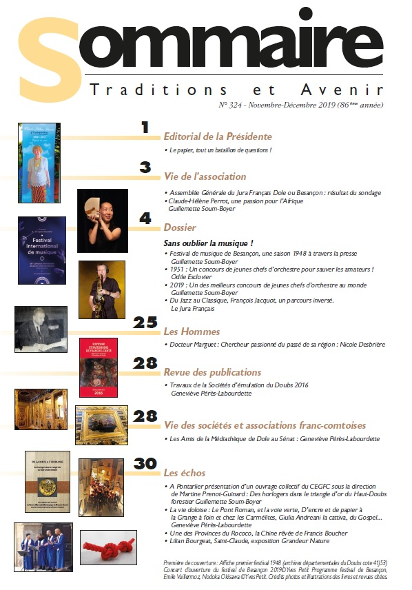 Sommaire Jura Francais N 324 Novembre - Decembre 2019