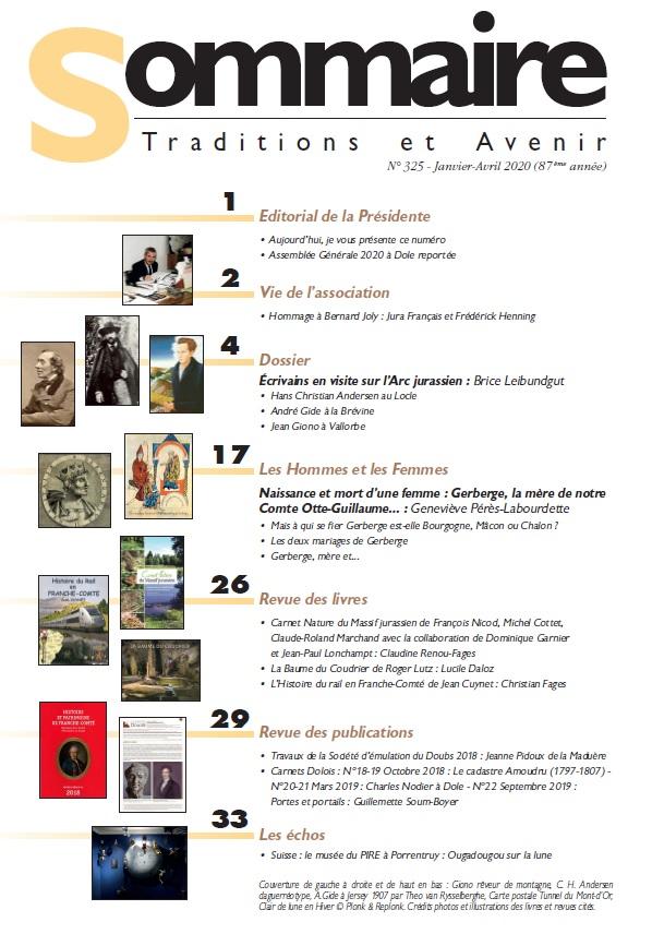 Sommaire Jura Français N 325 Janvier - Avril 2020