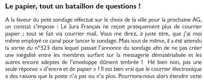 Le Jura Francais Courrier des lecteurs N 324 page 1