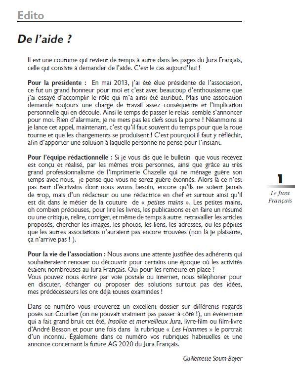 Le Jura Francais Editorial N 323 page1