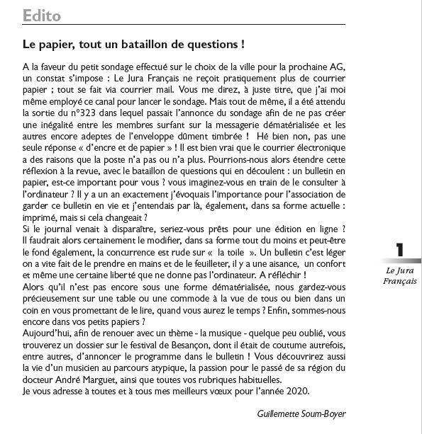 Le Jura Francais Editorial N 324 page1