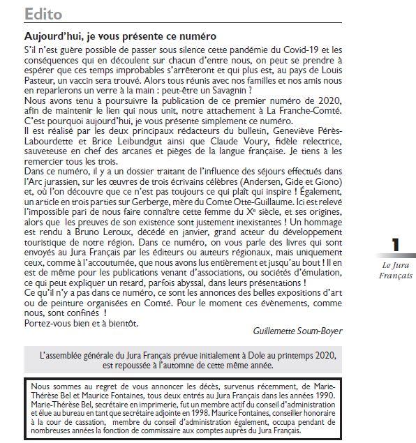 Le Jura Francais Editorial N 325 page1