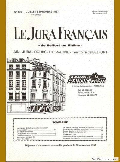 Le Jura Français N° 195 1987